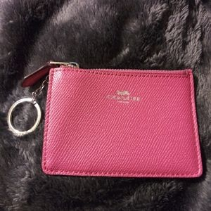 Coach wallet skinny case with keychain pink